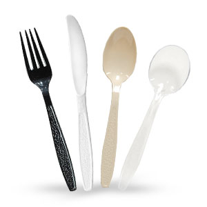 Guildware® Extra Heavy Weight Polystyrene Plastic Cutlery