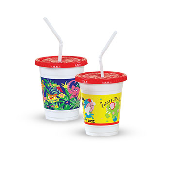 Plastic Kids' Cups with Lids and Straws